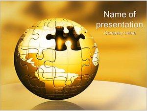 Шаблон презентации PowerPoint: Земной шар из паззлов