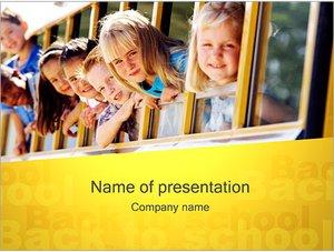 Шаблон презентации PowerPoint: Дети и школьный автобус