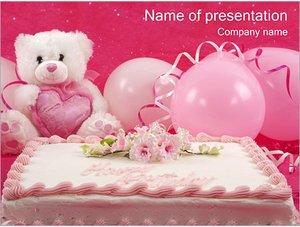 Шаблон презентации PowerPoint: Торт ко дню рождения