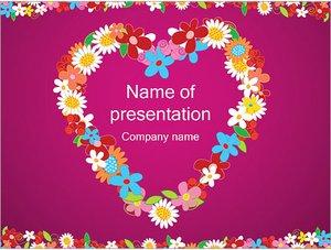 Шаблон презентации PowerPoint: Сердце из цветов