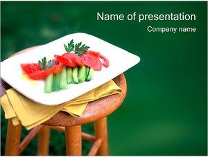 Шаблон презентации PowerPoint: Нарезанные овощи на тарелке