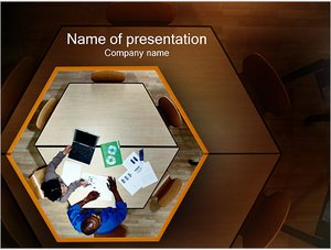 Шаблон презентации PowerPoint: Стол бизнес переговоров