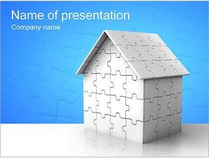 Шаблон презентации PowerPoint: Дом собранный из паззлов