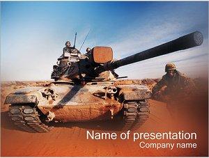 Шаблон презентации PowerPoint: Танк с солдатами