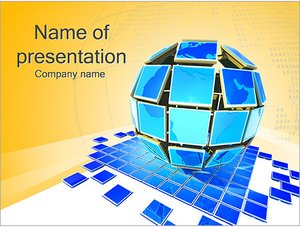 Шаблон презентации PowerPoint: Глобус из мониторов