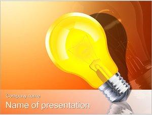 Шаблон презентации PowerPoint: Светящаяся желтая лампа
