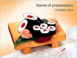 Шаблон презентации PowerPoint: Суши на деревянной доске