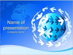 Шаблон презентации PowerPoint: Земной шар и стрелки