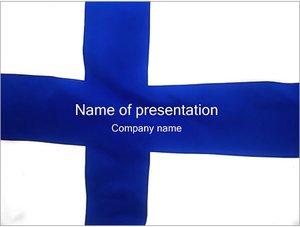 Шаблон презентации PowerPoint: Флаг Финляндии