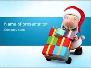 Шаблон презентации PowerPoint: Санта Клаус с подарками