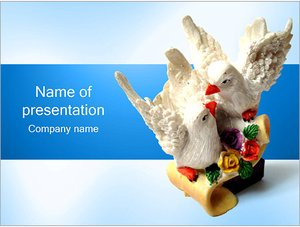 Шаблон презентации PowerPoint: Статуэтка два голубя