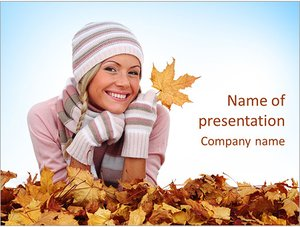 Шаблон презентации PowerPoint: Девушка с желтыми листьями
