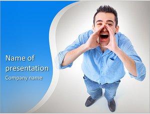 Шаблон презентации PowerPoint: Парень кричит вверх