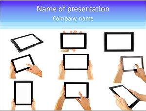 Шаблон презентации PowerPoint: Планшетные компьютеры в руках
