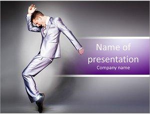 Шаблон презентации PowerPoint: Бизнесмен в костюме танцует