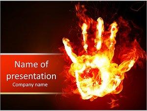 Шаблон презентации PowerPoint: Горящий отпечаток ладони