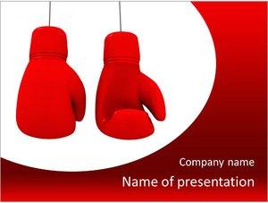 Шаблон презентации PowerPoint: Две красные боксерские перчатки