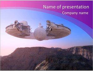 Шаблон презентации PowerPoint: Космический корабль НЛО