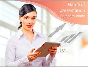 Шаблон презентации PowerPoint: Женщина с планшетом в руках