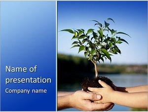 Шаблон презентации PowerPoint: Дерево саженец в руках