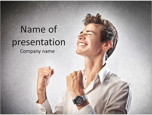 Шаблон презентации PowerPoint: Торжествующей бизнесмен