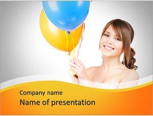Шаблон презентации PowerPoint: Счастливая девушка с воздушными шарами