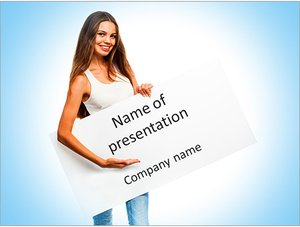 Шаблон презентации PowerPoint: Женщина с белым листом в руках