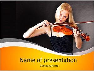 Шаблон презентации PowerPoint: Молодая женщина скрипачка