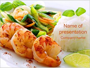 Шаблон презентации PowerPoint: Креветки с овощами и рисом