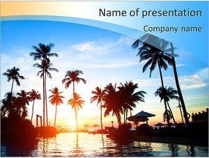 Шаблон презентации PowerPoint: Красивый закат на море в тропиках