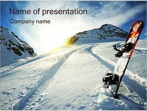Шаблон презентации PowerPoint: Сноуборд в снегу