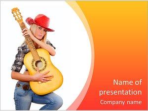 Шаблон презентации PowerPoint: Девушка в ковбойской шляпе с гитарой