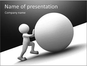 Шаблон презентации PowerPoint: Человек толкает шар в гору