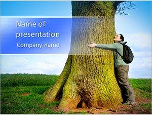 Шаблон презентации PowerPoint: Мужчина обнимает дерево