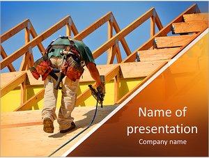 Шаблон презентации PowerPoint: Строитель делает крышу дома