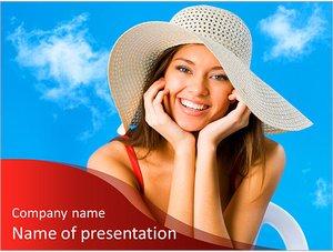 Шаблон презентации PowerPoint: Красивая улыбающаяся женщина в шляпе