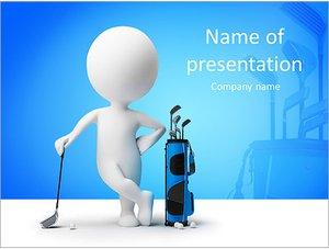 Шаблон презентации PowerPoint: Фигурка человека играет в гольф