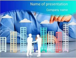 Шаблон презентации PowerPoint: Строительство города в руках бизнесменов