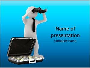 Шаблон презентации PowerPoint: Фигурка с чемоданом денег смотрит в бинокль