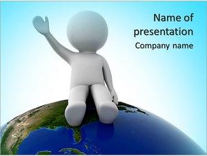 Шаблон презентации PowerPoint: Человек сидит на планете