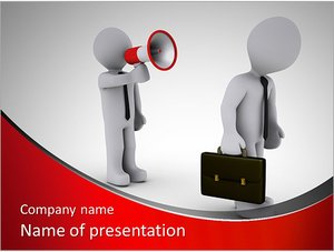 Шаблон презентации PowerPoint: Человек кричит через рупор