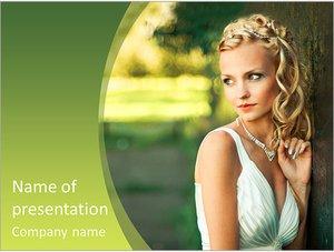 Шаблон презентации PowerPoint: Красивая невеста у дерева