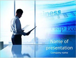 Шаблон презентации PowerPoint: Бизнесмен в офисе с бумагами в руках