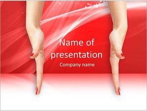 Шаблон презентации PowerPoint: Руки женщины на красном фоне