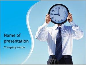 Шаблон презентации PowerPoint: Бизнесмен с большими часами