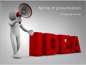 Шаблон презентации PowerPoint: Фигурка человека с рупором в руках
