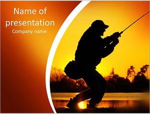 Шаблон презентации PowerPoint: Рыбак тянет рыбу