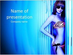 Шаблон презентации PowerPoint: Красивая женщина в солярии