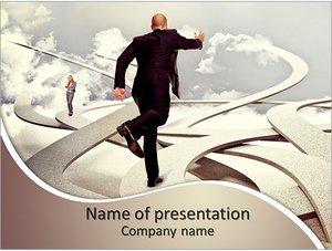 Шаблон презентации PowerPoint: Бизнесмен бежит вперед
