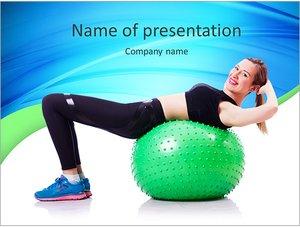 Шаблон презентации PowerPoint: Женщина делает упражнения с мячом